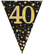 40th Birthday Party Sparkling Age 40 Black & Gold Flag Bunting Banner Decoration