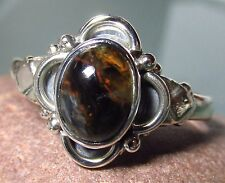 Sterling silver cabochon Pietersite everyday ring UK R/US 8.75