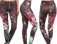 New Disney Princess Ariel Little Mermaid Print Leggings Pants Size L Large