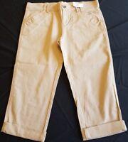 NEW Disney Mickey Mouse embroidered Women's Capri Cropped Khaki Pants Size 6 NEW