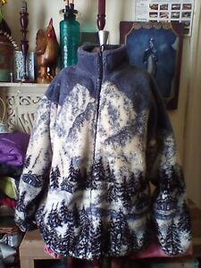 Women's Medium Black Mountain cabin outdoor thick heavy fleece full zip jacket