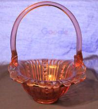 Vintage Fenton Pink Cranberry Ribbed Tulip Basket with Clear Applique Handle