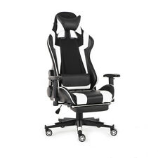 Office Chair Ergonomic Gaming Chair Racing Style 180° Lying Recliner w/ Footrest
