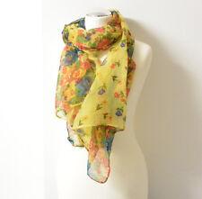 Halstuch leicht Sommer Blumen Muster bunt gelb Tuch