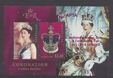 Australia 2003 Coronation Jubilee M S  O/PT (APTA Melbourne Stamp Fair)