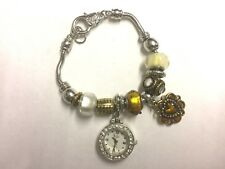 NEW GOLD AND SILVER BRACELET WITH DETACHABLE WATCH FLOWER HEART BOXED