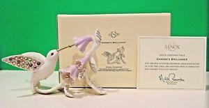 LENOX GARDEN'S BRILLIANCE JEWELED HUMMINGBIRD bird sculpture NEW in BOX with COA
