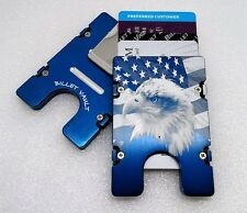 Eagle American Flag,  Aluminum Wallet/Credit Card Holder, RFID Protection, Blue