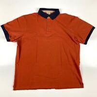 L.L. Bean Mens Polo Shirt Rust Orange Blue Cotton Short Sleeve Peru XXL-Tall