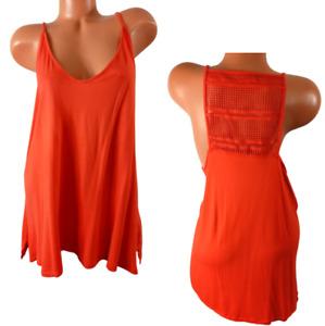 Old navy orange open crochet back spandex stretch sleeveless plus top XXL