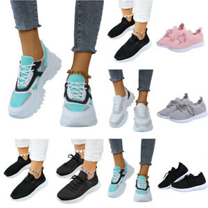 Womens Sports Breathable Trainers Ladies Jogging Lace Up Sneakers Running Shoes