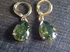 Pear Stone Yellow Gold Filled Drop/Dangle Costume Earrings