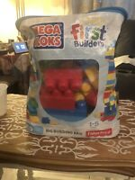 First Builders Building Bag Big 80 Piece Mega Bloks Classic Blocks Toy Set
