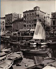 large vintage photo boats & market grand canal Trieste Italy Italia foto ca 1955