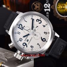 50mm PARNIS Big Face white dial day date men's quartz WATCH Full chronograph