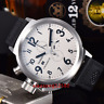 50mm PARNIS Big Face white dial day date men's quartz WATCH Full chronograph