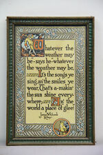 ANTIQUE JAMES WHITCOMB RILEY WHATEVER THE WEATHER MAY BE POEM FRAMED CUTE DECOR