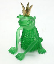 "Christmas ornament art glass hand blown green frog with gold crown 3"" tall"