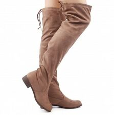 LADIES WOMENS LONG OVER THE KNEE FLAT TIE BOOTS STRETCH FAUX SUEDE