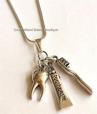 Silver Dental Necklace Tooth Brush Paste Teeth Dentist Hygienist Assistant Gift