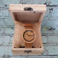 Leather Watch For Women Men Wood Quartz Bracelet Wristwatches Gift w/Box