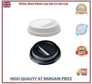 Disposable Plastic Cup Lids White Black 8oz Coffee Cup Lids Sip Through Lids