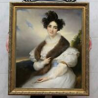 "Hand Painted Old Master-Art Antique Oil Painting Portrait girl on canvas 30""x40"""