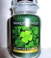 "Yankee Candle ""LUCKY SHAMROCK""~ St. Patrick's Day ~ Large 22 oz.~WHITE LABEL~NEW"