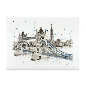 London Scenic Art A3 Poster Print of Tower Bridge on Premium Linen Paper