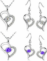 PURPLE / CLEAR GORGEOUS HEART AUSTRIAN CRYSTAL KPW2  WHITE GOLD PLATED SET