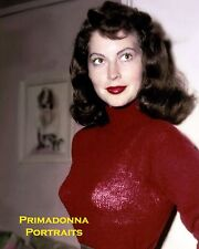 AVA GARDNER 8X10 Lab Photo Color SEXY Small Waist Red Kiss-Me Lips Brown Eyes!