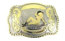 New Western Belt Buckle Western Cowboy Of Rodeo Cowgirl Gold