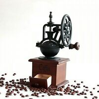 Manual Coffee Grinder Antique Cast Iron Hand Crank Mill