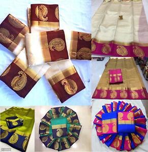 Designer Saree Blouse Kanjivaram Silk Sari Wedding Indian Party Wear Heavy Cloth