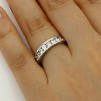 2.00 Ct 14K Real White Gold Round Eternity Endless Wedding Anniversary Ring Band