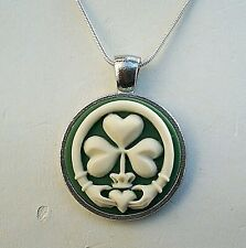 IRISH CLADDAGH SHAMROCK Ivory color CLOVER Green CAMEO Silver Pendant NECKLACE