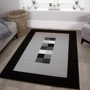 Modern Black & Gray Monochrome Living Room Rugs Small Large Hallway Area Rug