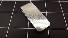 Vintage Silver Tone Engraved Money Clip