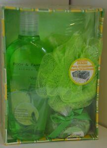 SET 4 Bath Body & EARTH Elements Verbana Citrus Salts BODY WASH Puff Sponge