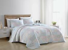 Pre-Washed Cotton Quilt Set - Blue Pink Floral Shabby Chic Bedding Coverlet Set