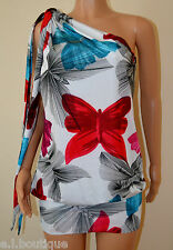 Miss Sixty one shoulder Toots white pink blue floral mini dress Small 8 10 BNWT