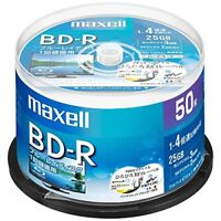 50 Maxell JAPAN Blank BD-R BDR 25GB x4 White Label Blu ray Disc BRV25WPE.50SP