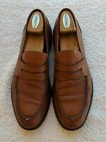 A.Testoni Men's Shoes Chestnut Leather Penny Loafers Slip ons 11 US 44 EUC