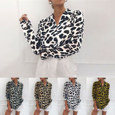 AU 6-18 Women V Neck Leopard Print Long Sleeve Chiffon Loose T Shirt Tops Blouse