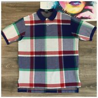 Vintage Polo Ralph Lauren Short Sleeve Polo Shirt Size Large Plaid Check USA