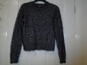 Soft and cosy black, silver eyelash long sleeve jumper, MARKS AND SPENCER, UK 8