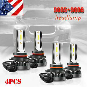 9005+9006 Combo Car LED Headlight Kits 80W High/Low Beam Bulbs 6000K White