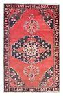 Rustic Oriental Carpet Rug Vintage Ivory Pink Hand Made Wool Rug 118x185cm
