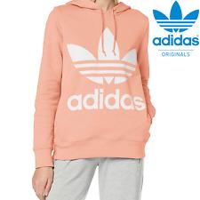 Adidas Originals Sweatshirt - Pink Trefoil Design - Women's Hoodie - Hooded Top