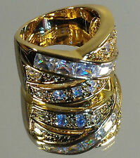 "Beautiful ""Crossover"" Ladies Gold Ring, Swarovski & Cubic Zirconia stones, NEW"